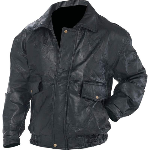 Men's Black Leather BOMBER JACKET Fully Lined