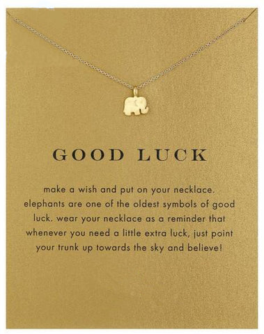 "Elephant ""Good Luck"" Pendant Necklace 16"" - Strong Wired"