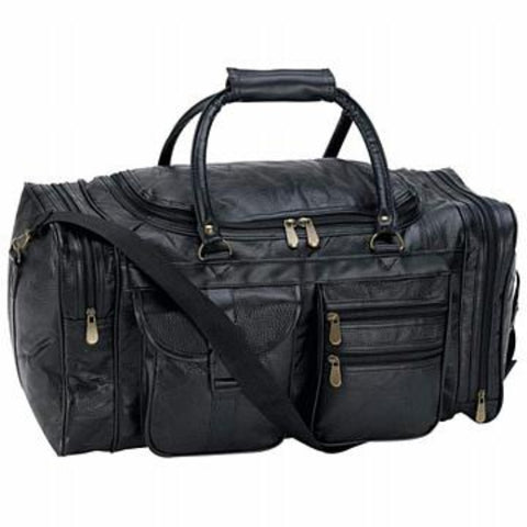 Men's Black Leather Overnight Duffle Luggage Bag