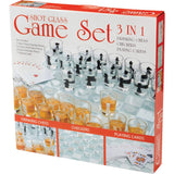 3-in-1 Shot Glass Chess, Checkers and Poker Drinking Game Set