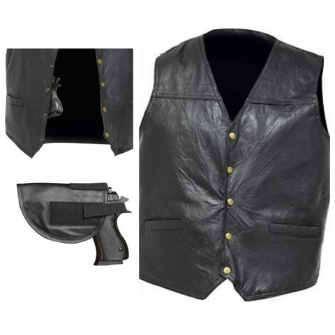 SWAT STYLE Men's (Concealed Carry) Black Leather Vest with Holster & Gun Pockets