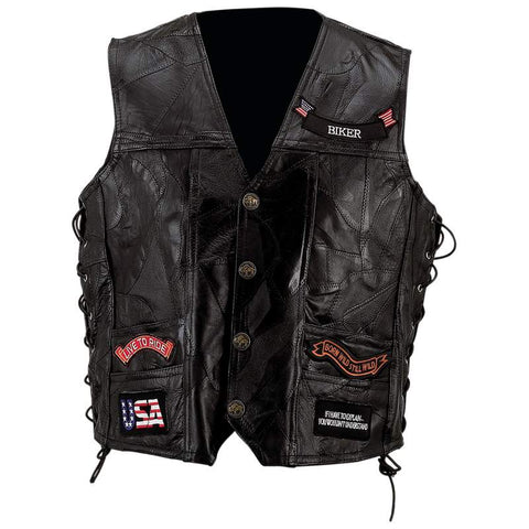 Men's Black Genuine Buffalo Leather Biker Vest
