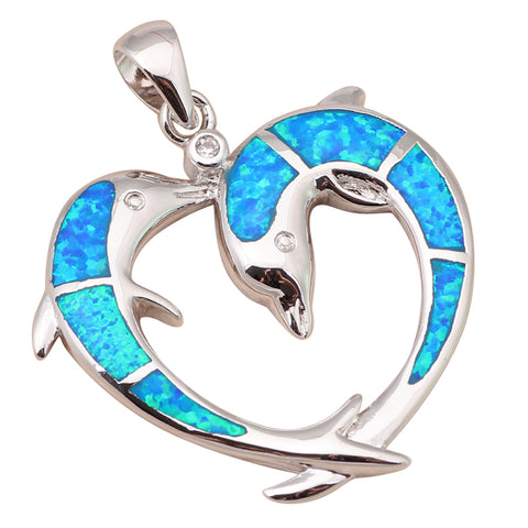 Two Dolphins Designer Blue Fire Opal Sterling Silver Pendant