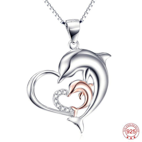 Dolphin Necklace in Sterling Silver with Mother and Baby Dolphin - Strong Wired