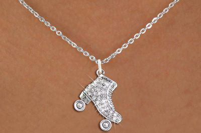 Roller Skating Charm Necklace with Faceted Clear Crystals