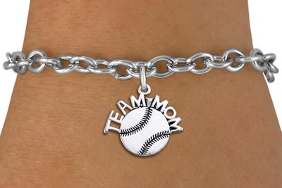 Team MOM Softball Charm Bracelet