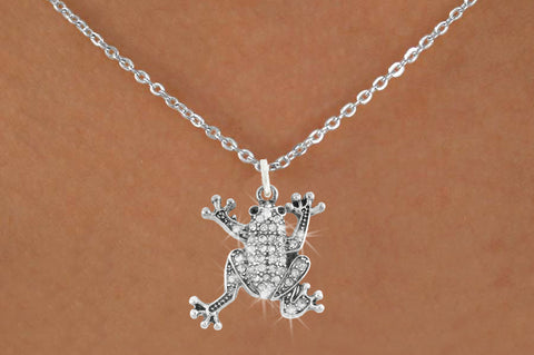 Pave Crystal Frog Charm Necklace