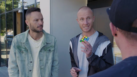 Jono and Ben talk to Mike in the Speedcubing episode of Good Sports