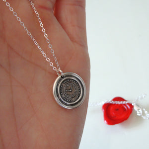 Quiet Without Active Within - Silver Wax Seal Necklace Keep Calm - RQP Studio