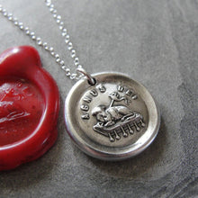 Load image into Gallery viewer, Lamb of God Wax Seal Necklace - Agnus Dei - Latin religious devotion antique wax seal charm jewelry - RQP Studio