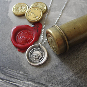 Wax Seal Necklace Slow But Sure antique Tortoise jewelry Turtle charm Endurance Determination - RQP Studio
