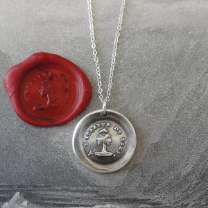 Steadfast Wax Seal Necklace antique French wax seal charm jewelry with tree Test Of Time - RQP Studio