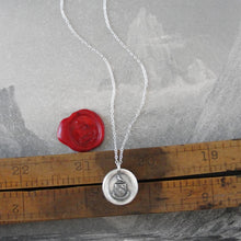 Load image into Gallery viewer,  I Love - Silver Wax Seal Necklace With Peace Dove Latin Motto Amo