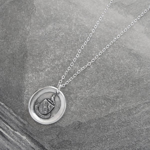 I Love - Silver Wax Seal Necklace With Peace Dove Latin Motto Amo