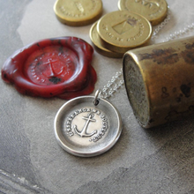 Load image into Gallery viewer, Anchor Wax Seal Necklace in silver - Hope Sustains Me - RQP Studio