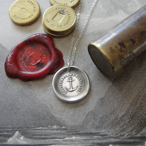 Anchor Wax Seal Necklace in silver - Hope Sustains Me - RQP Studio