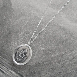 By Courage Not Stratagem - Silver Wax Seal Necklace Rampant Lion Bravery