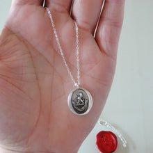 Load image into Gallery viewer, By Courage Not Stratagem - Silver Wax Seal Necklace Rampant Lion Bravery