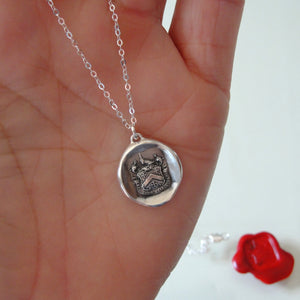 Be Yourself - Silver Wax Seal Necklace With Latin Motto Crest - RQP Studio