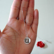 Load image into Gallery viewer, Be Yourself - Silver Wax Seal Necklace With Latin Motto Crest - RQP Studio