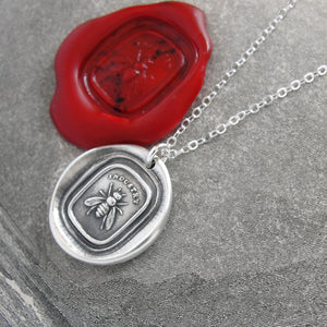 Honey Bee Silver Wax Seal Necklace - Industrious Honeybee Wax Seal Jewelry