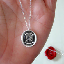 Load image into Gallery viewer, Honey Bee Silver Wax Seal Necklace - Industrious Honeybee Wax Seal Jewelry