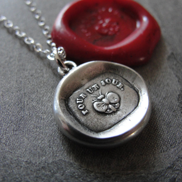 Butterfly Wax Seal Necklace - For A Day - antique wax seal jewelry Carpe Diem motto - RQP Studio