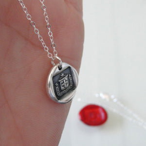 I Have A Care Of The Future - Silver Wax Seal Necklace