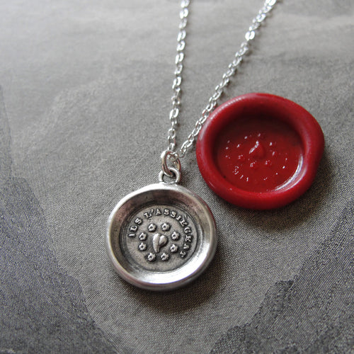 Think Of Me Wax Seal Necklace - Heart antique wax seal jewelry Forget-Me-Not Flowers - RQP Studio