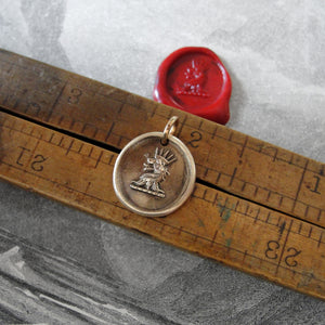 Crowned Lion Bronze Wax Seal Pendant - Dauntless Courage - RQP Studio