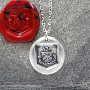 Death Before Dishonor - Silver Wax Seal Necklace - Honor Bravery Eagle Lion