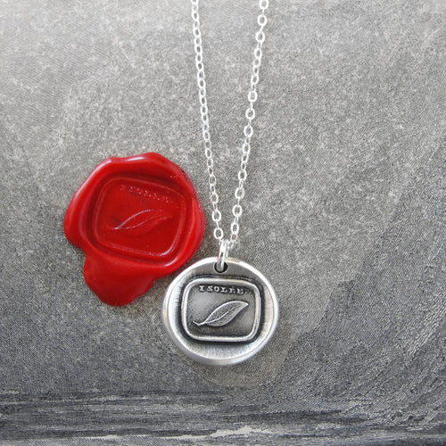 Desolate - Wax Seal Necklace Mourning Sadness Silver Leaf - RQP Studio