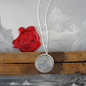 The Day Will Come - Wax Seal Necklace With Silver Sun Crest Splendor - RQP Studio