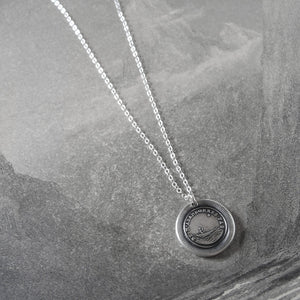 Do Not Leave Me - Silver Wax Seal Necklace Guided By North Star - Forsake Me Not - RQP Studio