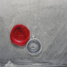 Load image into Gallery viewer, Do Not Leave Me - Silver Wax Seal Necklace Guided By North Star - Forsake Me Not - RQP Studio