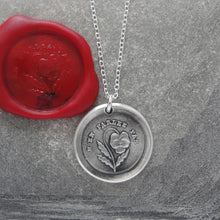 Load image into Gallery viewer, Do Not Tell - Silver Wax Seal Necklace - Forbidden Love Pansy - RQP Studio