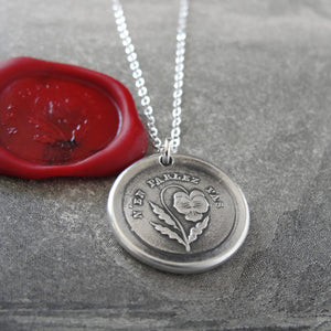 Do Not Tell - Silver Wax Seal Necklace - Forbidden Love Pansy - RQP Studio