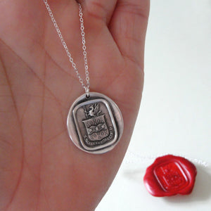 Do Not Yield To Misfortunes - Silver Mythical Griffin Wax Seal Necklace - RQP Studio