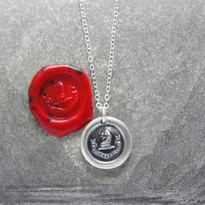Brave And Faithful - Dog Wax Seal Necklace - Motto Fortis Et Fidelis