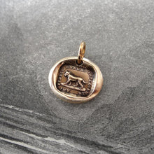 Load image into Gallery viewer, Faithful Friend Relentless Enemy - Wax Seal Charm - antique dog jewelry pendant in bronze - RQP Studio