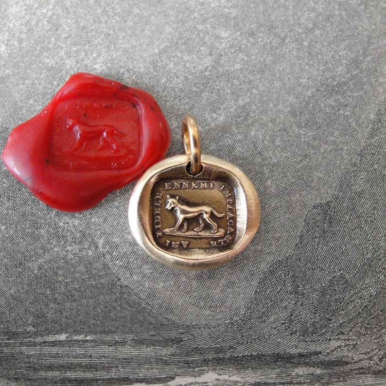 Faithful Friend Relentless Enemy - Wax Seal Charm - antique dog jewelry pendant in bronze - RQP Studio