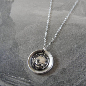 Always Faithful Dog Wax Seal Necklace in Silver Latin motto Semper Fidelis - RQP Studio