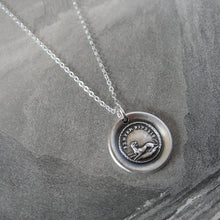 Load image into Gallery viewer, Always Faithful Dog Wax Seal Necklace in Silver Latin motto Semper Fidelis - RQP Studio