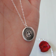 Load image into Gallery viewer, Silver Eagle Wax Seal Necklace - Actions Speak Louder Than Words - RQP Studio