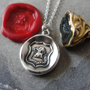 Elephant Wax Seal Necklace - Strength In Goodness - antique wax seal charm jewelry - RQP Studio