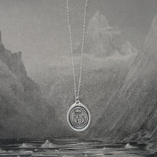 Load image into Gallery viewer, Suffer Bravely - Silver Wax Seal Necklace With Boar Crest Courage Motto - RQP Studio