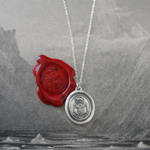Suffer Bravely - Silver Wax Seal Necklace With Boar Crest Courage Motto - RQP Studio