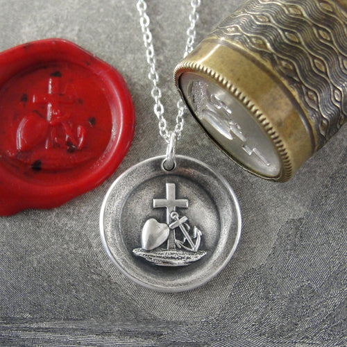 Faith Hope Love Wax Seal Necklace In Silver - Cross Anchor Heart symbols - RQP Studio