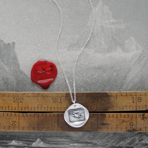 Fearless - Silver Wax Seal Necklace Eagle Soar Without Fear