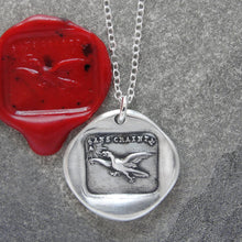 Load image into Gallery viewer, Fearless - Silver Wax Seal Necklace Eagle Soar Without Fear